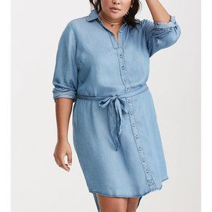Torrid Chambray Button Front Shirt Dress NWT B7P